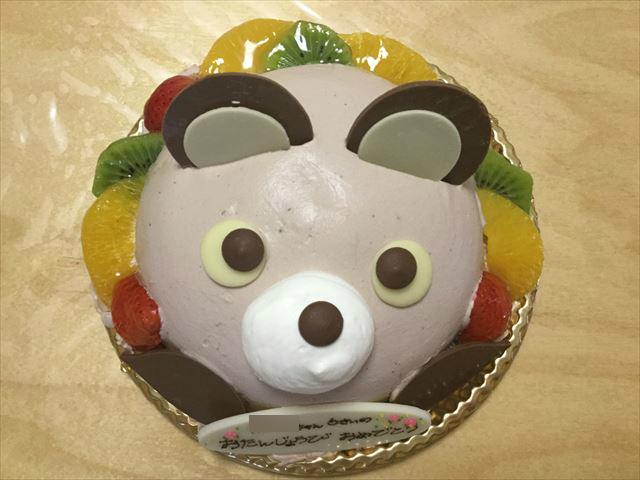 アンテノールのアニバーサリーケーキ「アニマルデコクマさんケーキ」上から撮影