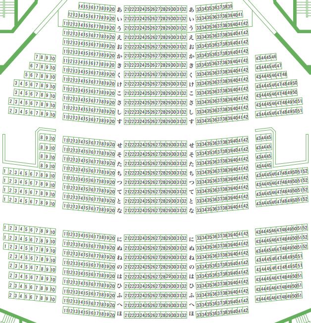 奈良県橿原文化会館大ホールの座席表