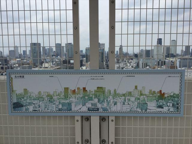 大丸心斎橋店北館屋上庭園、北側の眺望