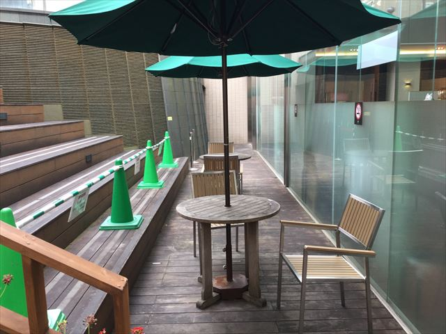 大丸心斎橋店北館屋上庭園、パラソル・椅子・テーブル