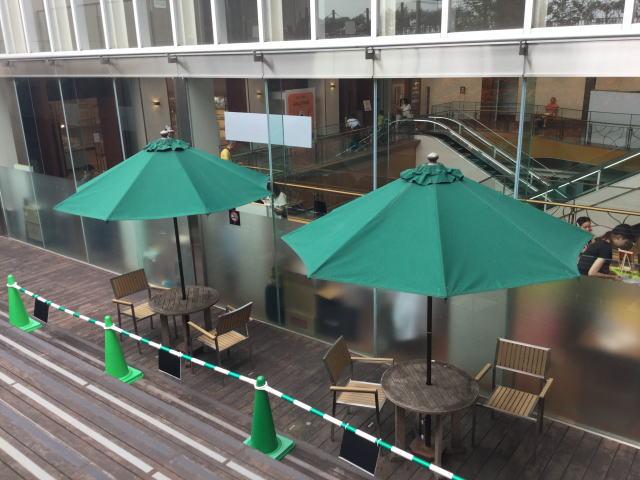 大丸心斎橋店北館屋上庭園、パラソル・椅子・テーブル。階段上から撮影