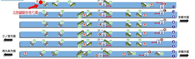 JR大阪駅11番ホームの駅弁売り場地図