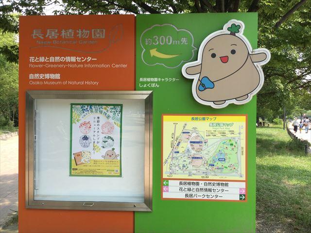 長居公園内の大阪市立自然史博物館の案内板