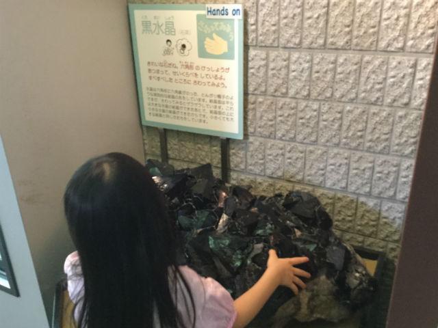 「大阪市立自然史博物館」黒水晶を触る娘