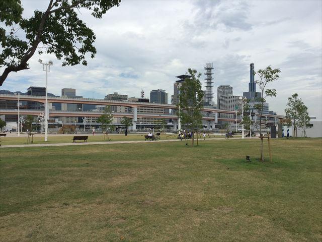 メリケンパーク、昼間の芝生広場