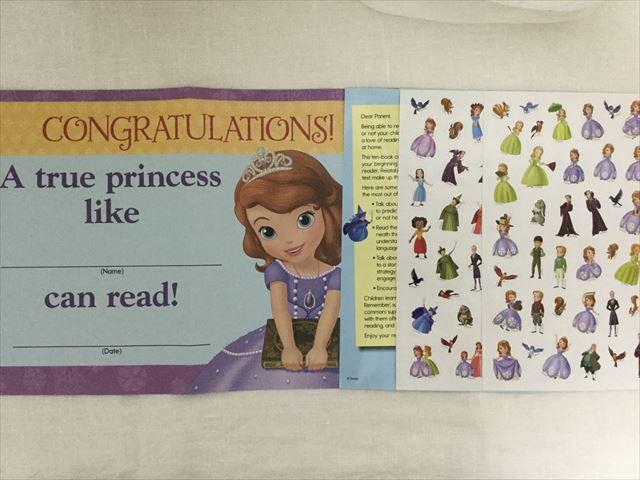 プリンセスソフィアの英語絵本「Reading Adventures(Level Pre-1)」付属のシールと終了証