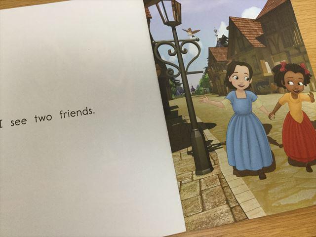 プリンセスソフィアの英語絵本「Reading Adventures(Level Pre-1)」ある1ページを開いた様子