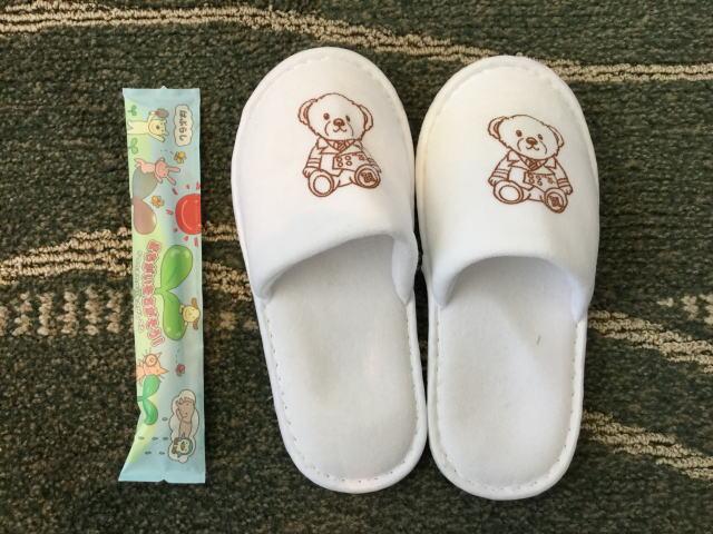 「ホテルオークラ神戸」子供用スリッパと歯ブラシ
