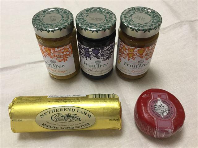 阪急うめだ本店「英国フェア2017」フルーツツリーのスプレッド3つ、チーズ、Netherend Farm「English Salted Butter」、Snowdonia「バウンチングベリー」
