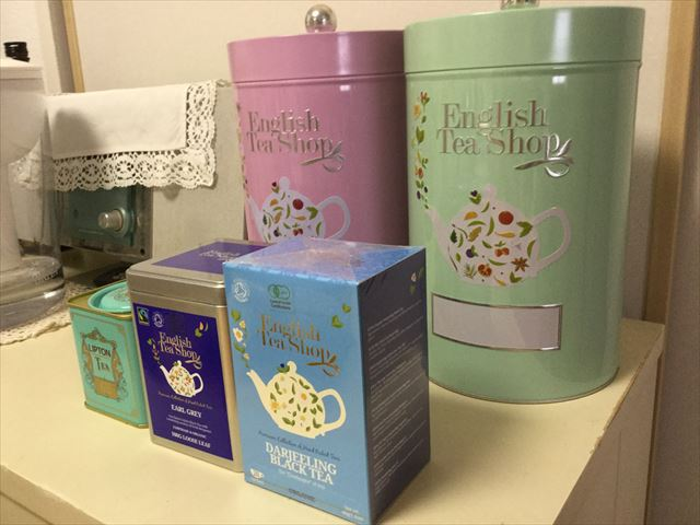 阪急うめだ本店「英国フェア2017」English Tea Shopのライトグリーン缶と紅茶