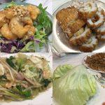 神戸南京町「民生」エビのマヨネーズソース、肉と野菜のあんかけ汁そば、ミンチのレタス包み、イカのてんぷら