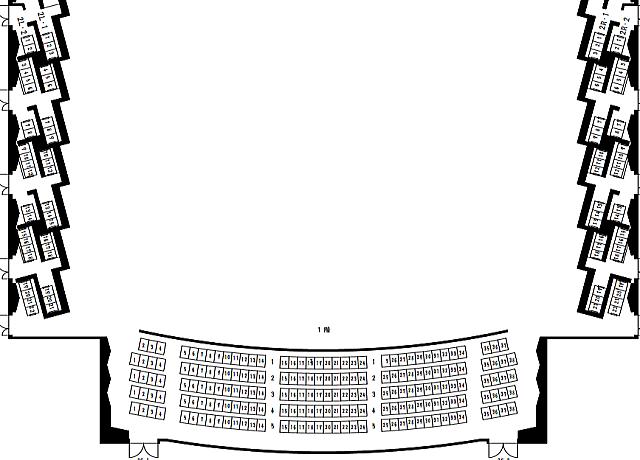 三重県総合文化センター大ホール2階座席表