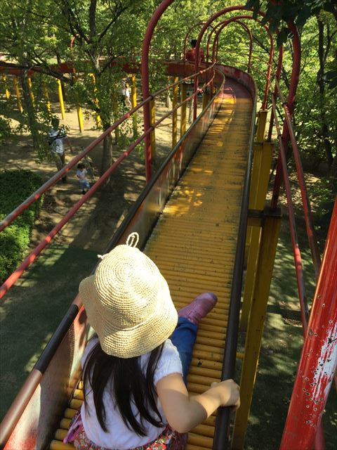 元浜緑地の木製アスレチック遊具上にあるローラー滑り台
