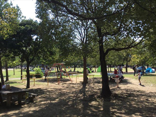 元浜緑地の芝生広場とブランコ