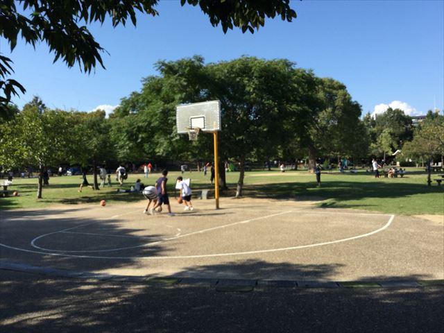 元浜緑地のバスケットボールコート