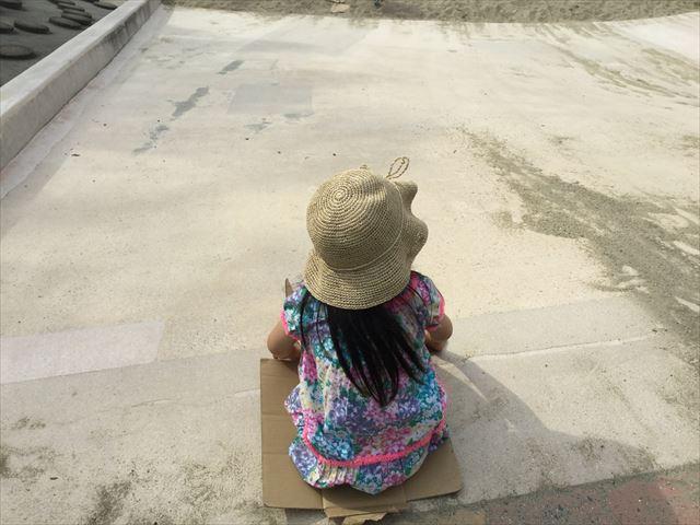 住之江公園の石の滑り台。滑り台の上から見た様子