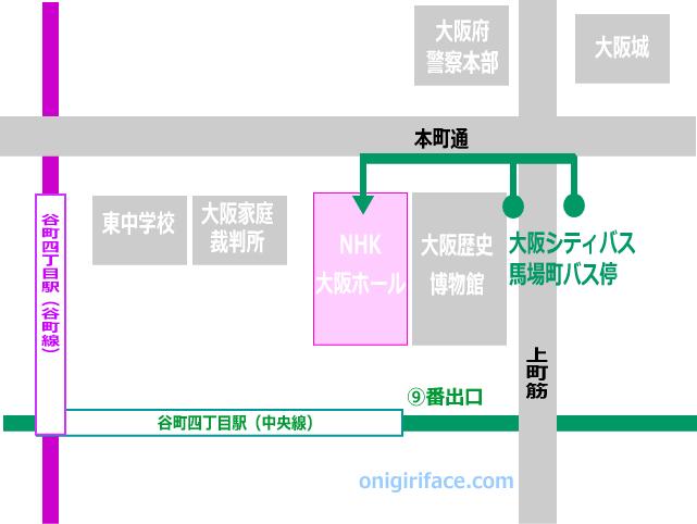 大阪シティバス「馬場町」バス停からNHK大阪ホールへの地図