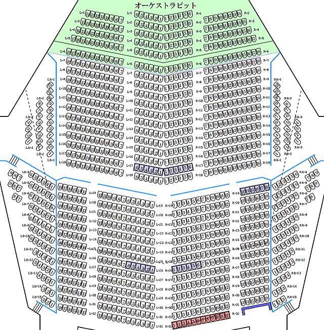 「ふくやま芸術文化ホール リーデンローズ 大ホール」1階座席表