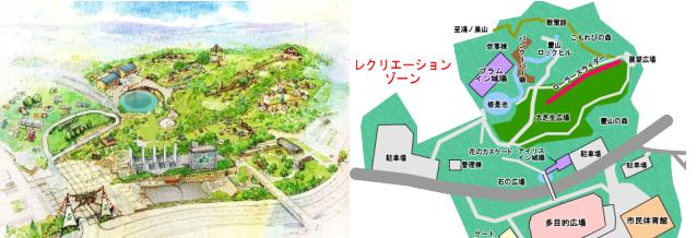 ロゴスランドと城陽市総合運動公園の写真を比較した様子