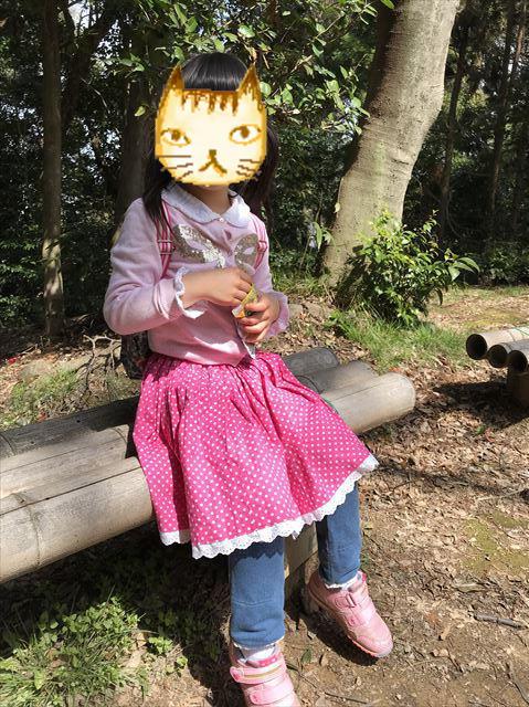 「自玉手祭来酒解神社」付近で休憩する子供の様子