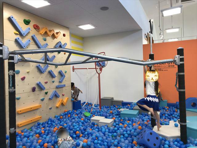 「ボーネルンドプレイヴィル大阪城公園」雲梯とボールプール