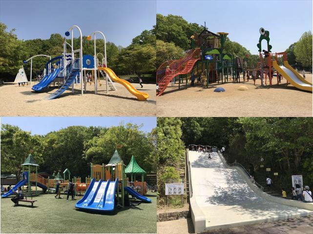 錦織公園「水辺の里」にある大型複合遊具4つ
