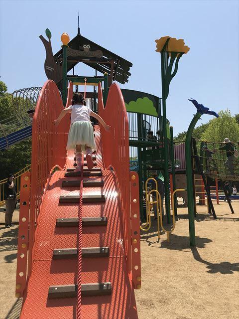 錦織公園「水辺の里」アスレチック型大型複合遊具、ロープをもってのぼる階段