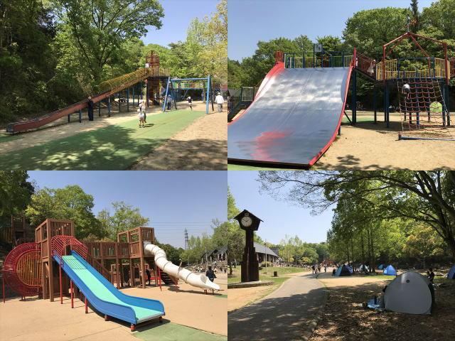 錦織公園「やんちゃの里」の複合遊具3つと木陰の様子