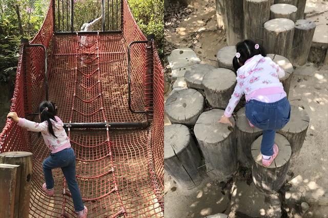 須磨離宮公園のアスレチック「冒険の森」木や縄の遊具
