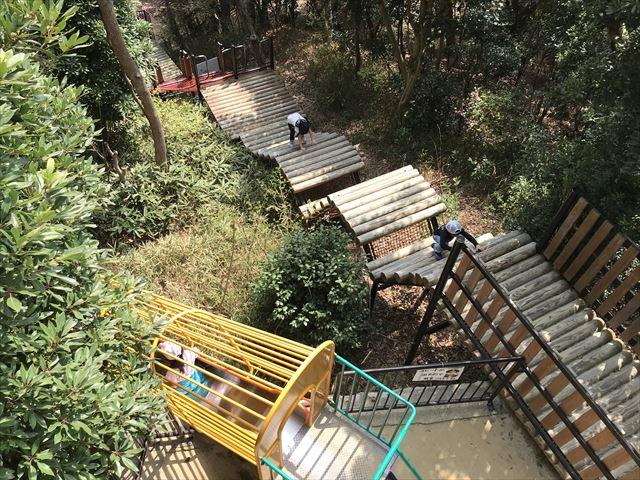 須磨離宮公園のアスレチック、展望台から見下ろした様子