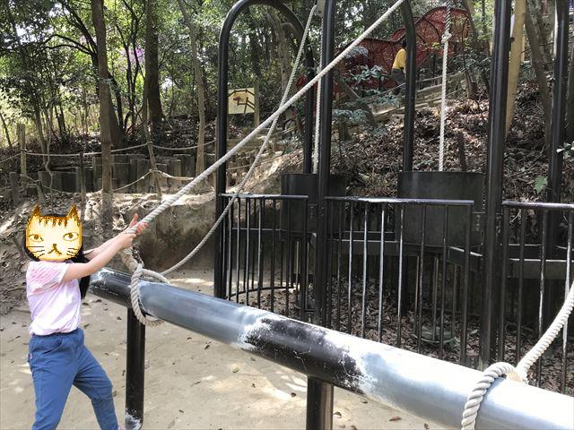 須磨離宮公園のアスレチック、15kg、20kg、25kgの宝物を持ち上げる