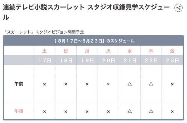 NHK朝ドラ「スカーレット」見学スケジュール例