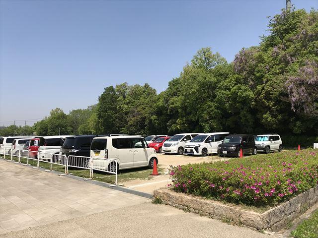 錦織公園の北臨時駐車場の様子