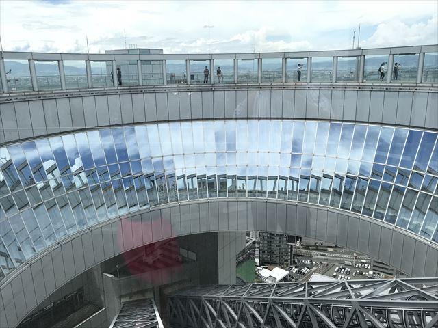 梅田スカイビル「空中庭園」屋上から内側を見た様子