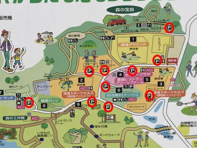 「むろいけ園地・緑の文化園」駐車場地図(合計10箇所ある)