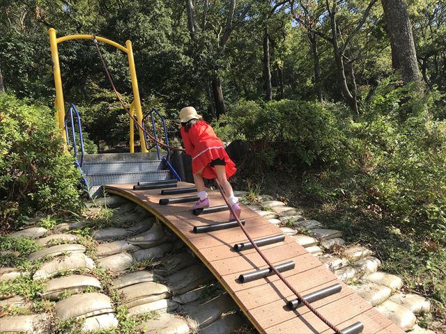 枚岡公園「森のおもちゃ箱」にある斜面を紐を使って上る遊具