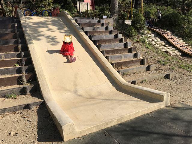 枚岡公園「森のおもちゃ箱」にある幅の広い石の滑り台