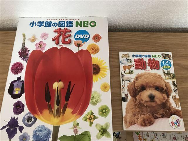 小学館の図鑑NEO、書店版とハッピーセット版のサイズの違い