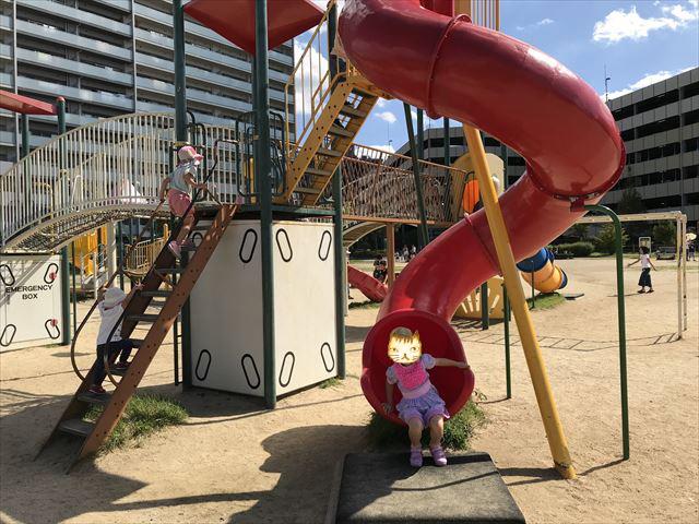 鳳公園の複合遊具「クネクネ滑り台」