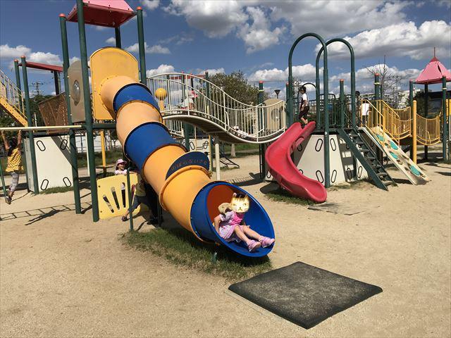 鳳公園の複合遊具「チューブ滑り台」
