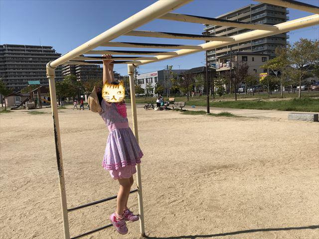 鳳公園の複合遊具「雲梯」