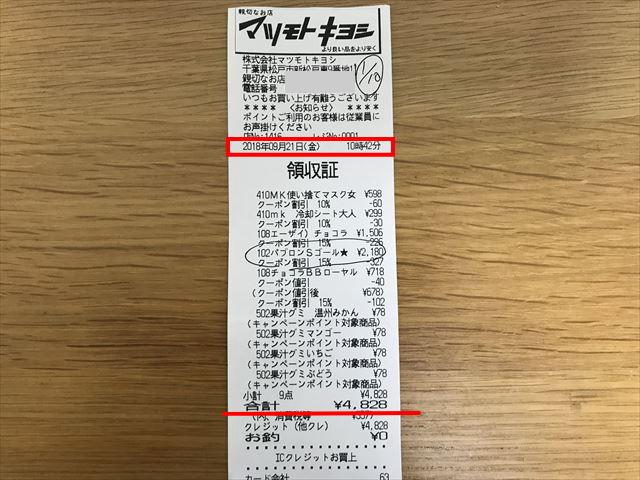 マツキヨのレシート(9/21分)