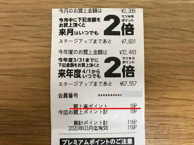 マツキヨのレシート(10/19分)のマツキヨポイント