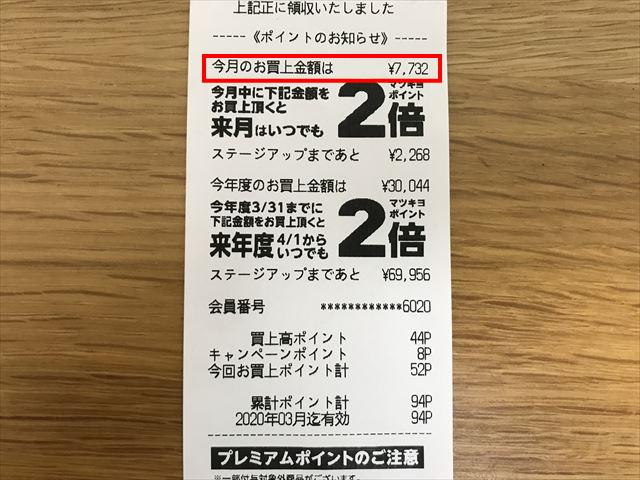 マツキヨのレシート、9月分のマツキヨで買い物した合計金額