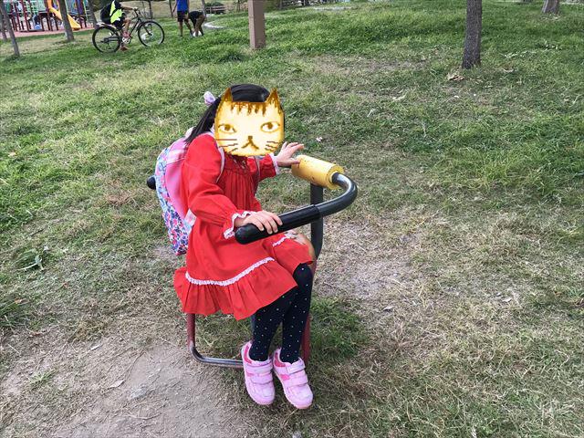 「水笠通公園」腰をツイストする健康器具