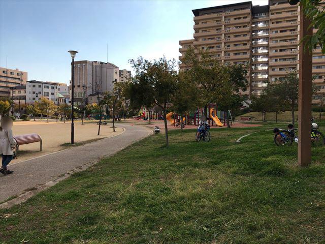 「水笠通公園」端には芝生がある