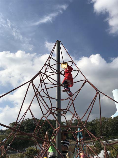 「西代蓮池公園」三角形をした縄のジャングルジムの頂点まで上り切った様子