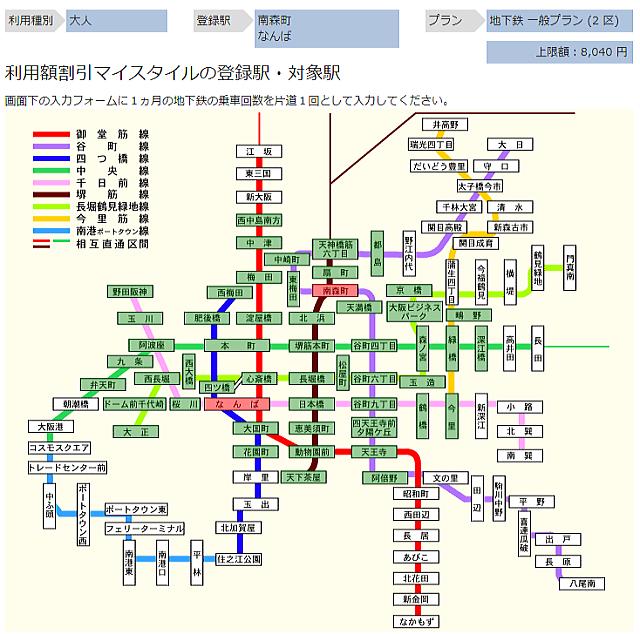 大阪メトロマイスタイルシミュレーション「南森町駅-なんば駅」
