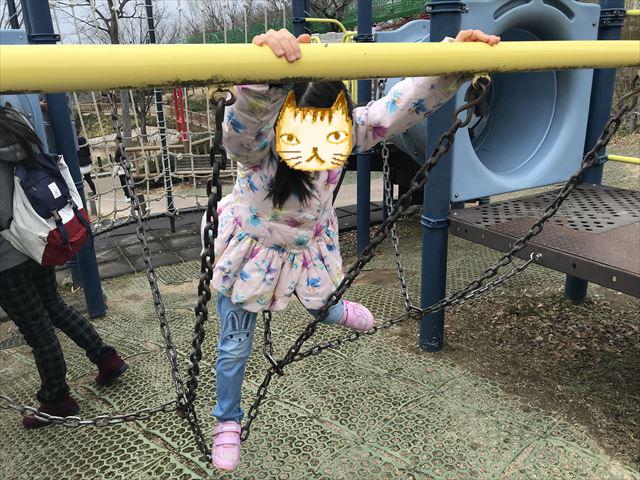 竹取公園の「学びの森」にある複合遊具、チェーンのハシゴを移動