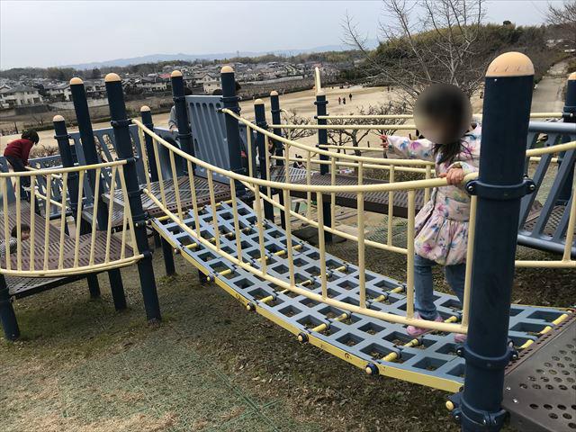 竹取公園の「学びの森」にある複合遊具、上下にゆれる橋